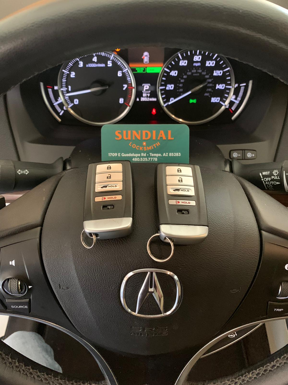 Smart Proxy Keyless Entry Remote Key Fob for Acura brand new OEM with emergency insert key. You must take it to a car locksmith for programming and cutting.